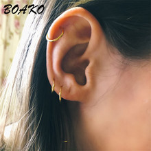 цена на 2019 Delicate Tiny Huggie Hoop Earrings for Women 925 Sterling Silver Earring Simple Ear Bone Buckle Mini Round Circle Earings