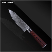 Fine damascus knives 6 inch chef knife Japanese damascus steel blade kitchen knives wave pattern cooking knife color wood handle