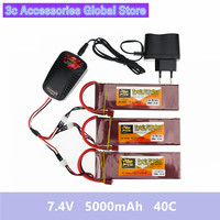 3X RC Drone Batteria 5000mah Lipo 7.4 V Battery 40C XT60 T Plug 2S With Smart Charger 3in1 Cable Set For RC Airplane Quadcopter
