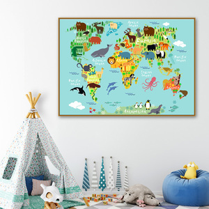 Cartoon Children Kawaii Animals World Map Wall Art Canvas Painting Nordic Posters And Prints Wall Pictures Kids Room Home Decor