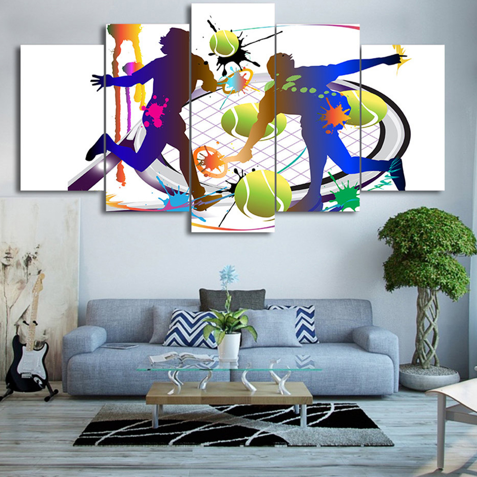 Modular Printed Modern Canvas HD Painting Wall Art Frame 5 Panel Abstraction Tennis Pictures Home Decor Living Room Poster ...