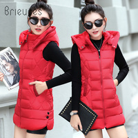 Brieuces 2019 Long Vest Winter Coat Women Sleeveless Jacket Slim Female Quilted Coat Femme Korean Waistcoat Colete