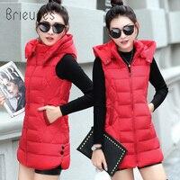 Brieuces 2019 Long Vest Winter Coat Women Sleeveless Jacket Slim Female Quilted Coat Femme Korean Waistcoat Colete