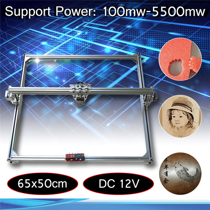 65x50 cm 100 mw-5500 mw DIY Desktop Mini máquina de Corte A Laser/Máquina de Gravura Gravador DC 12 v Cortador de Madeira/Impressora/Potência Ajustável
