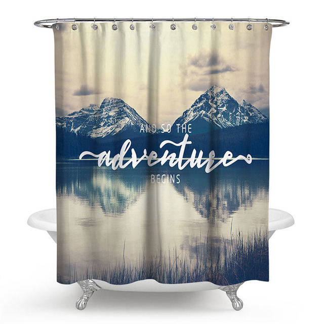 Modern Polyester Shower Curtain 3D Painted Mountain Forest Bath Screens Scenery Waterproof Bathroom