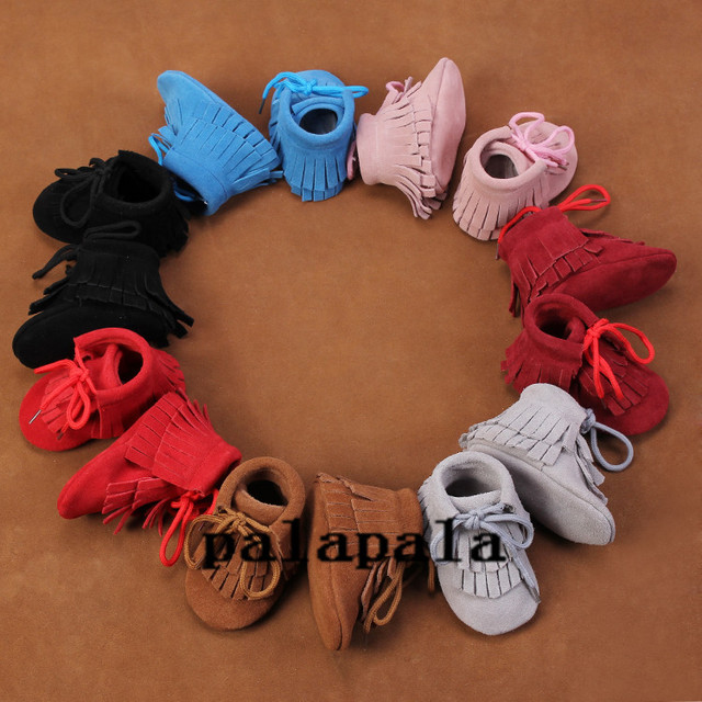 wholesale 20pairs /lot lace up Genuine leather suede baby moccasins soft sole moccs Toddler shoes double tassel boots for girls