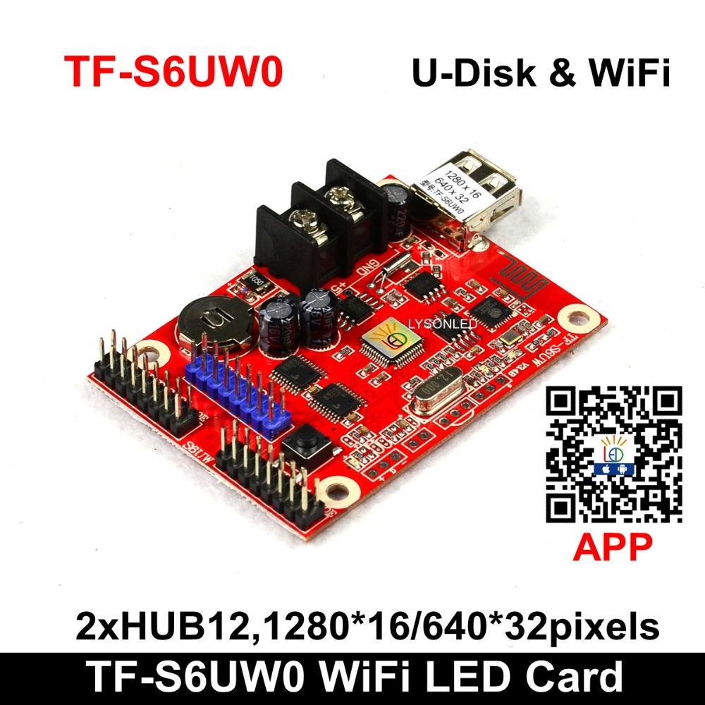 WIFI & USB-disk TF-S6UW0 LED Control Card , LongGreat Smallest Wifi P10 Single And Dual Color LED Sign Board Controller Card