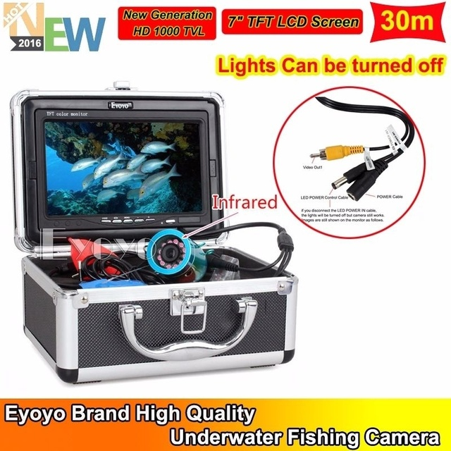 "Free Shipping!EYOYO 30m Infrared Light 7"" LCD Fish Finder Underwater Camera w/Lights Control"