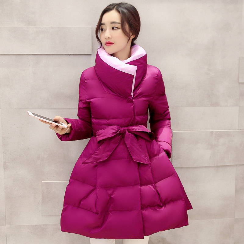 Winter New Lady In The Long Section Of The Waist Cotton Jacket Peng Peng Self - Cultivation Students Cotton Jacket sky blue cloud removable hat in the long section of cotton clothing 2017 winter new woman