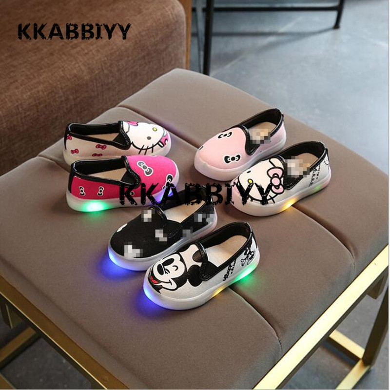 2018 NEW Cartoon SALE Children Shoes Spring Autumn Canvas Flasher Fashion Sports Sneakers Kids Sport Brand Boys LED Light Shoes