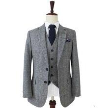 Шерстяной серый синий твидовый мужской костюм из 3 предметов сделанный на заказ Узкий покрой мужской блейзер(пиджак+ брюки+ жилет