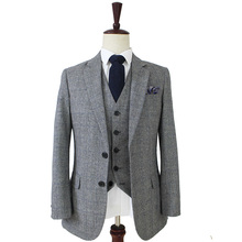 Free shipping Wool Grey blue Tweed Men Custom Made mens 3 piece suit tailor made slim fit suits for men Blazer(Jacket+Pants+Vest cheap Single Breasted Straight Rayon England Style wedding suits 110 BD tailormade Zipper Fly 3 pieces(Jacket Pant Vest) 60 wool 40 Rayon
