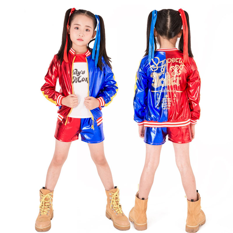 Girl Harley Quinn Cosplay Costumes Kids Girls Purim Coats Jacket Suicide Squad Chamarras De  Para Mujer Suit