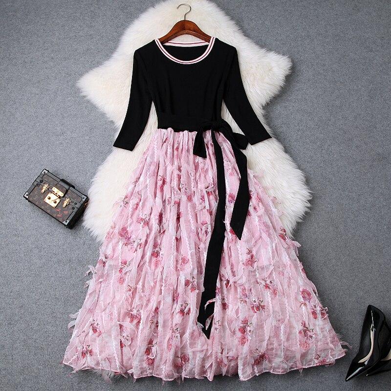Pani słodkie sukienka linia wiosna 2019 nowa luksusowa projektanta pracy kobiet Patchwork knitting sukienka na imprezę w stylu Vintage kwiatowy sukienki biurowe w Suknie od Odzież damska na AliExpress - 11.11_Double 11Singles' Day 1