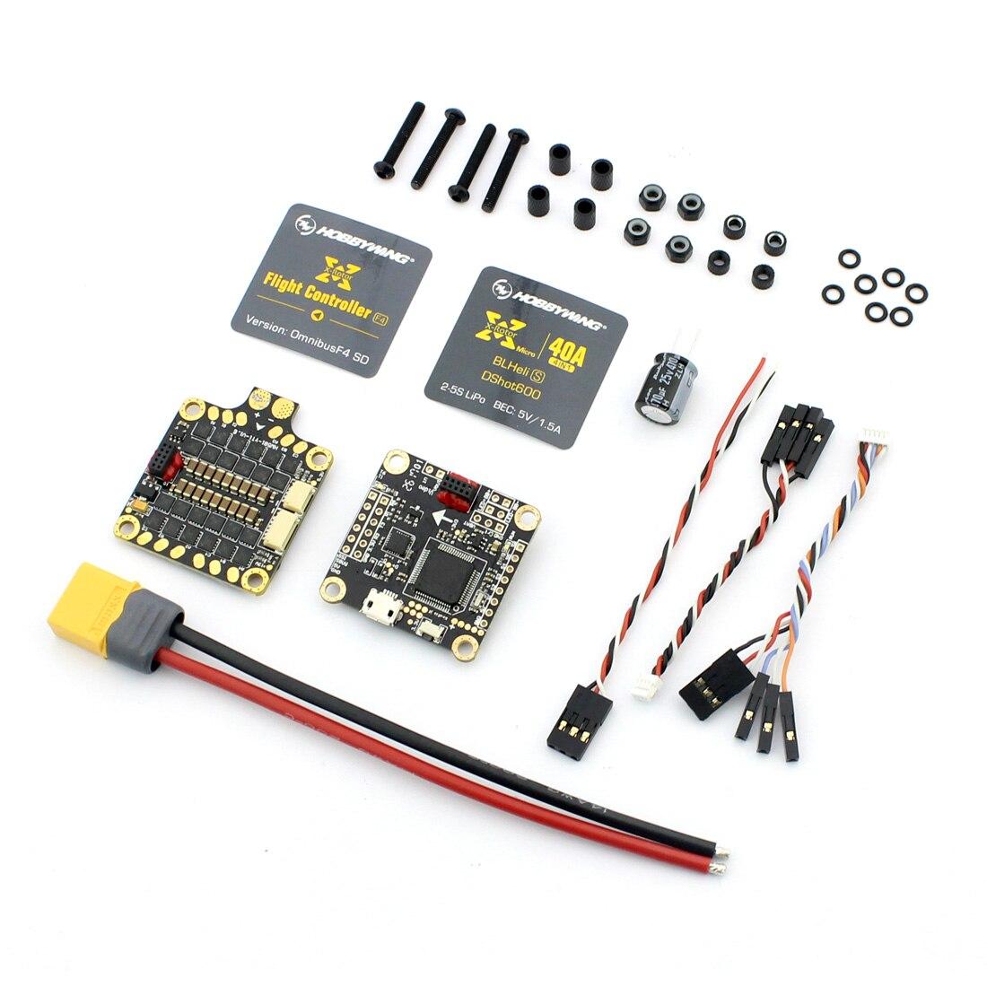 HobbyWing COMBO XRotor F4 Contrôleur de Vol MicroCube et 40A 4-en-1 ESC 2-5 S BLHeli_S DShot600 pour RC FPV Drone Quadrocopter