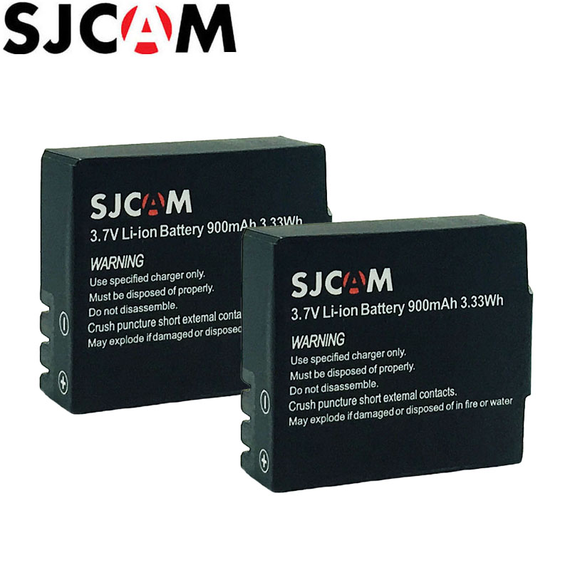 2PCS SJCAM Батарэя 3.7V Li-іёна 900mAh Рэзервовае Rechargable батарэі для SJCAM SJ4000 SJ5000 SJ5000X Elite M10 WiFi Action Camera