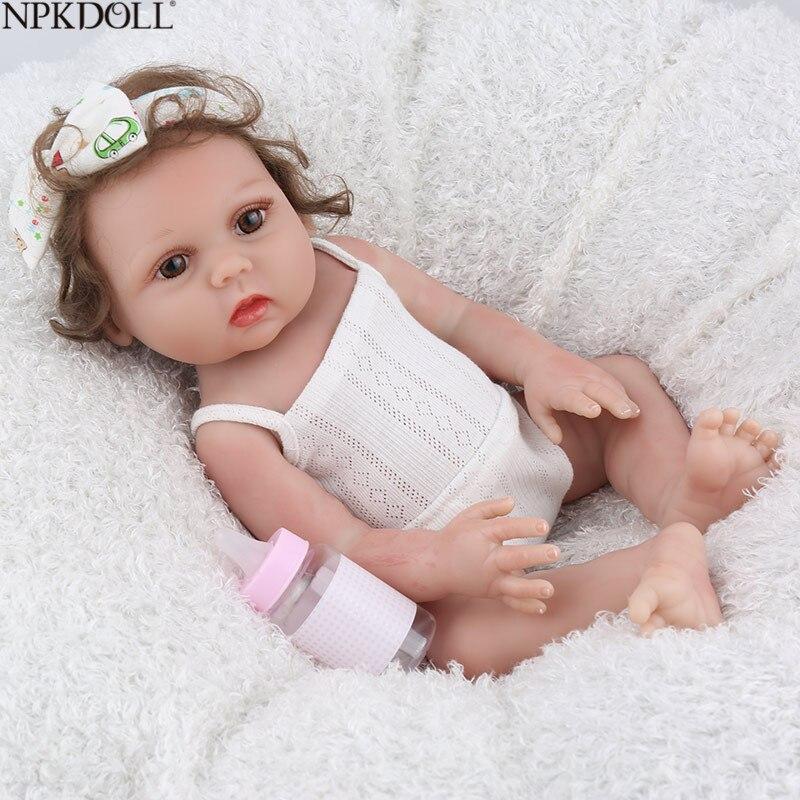 NPKDOLL Reborn bébé poupée 17 pouces plein vinyle réaliste infantile éducatif beaux jouets de bain enfants Playmate mignon Bebe Reborn