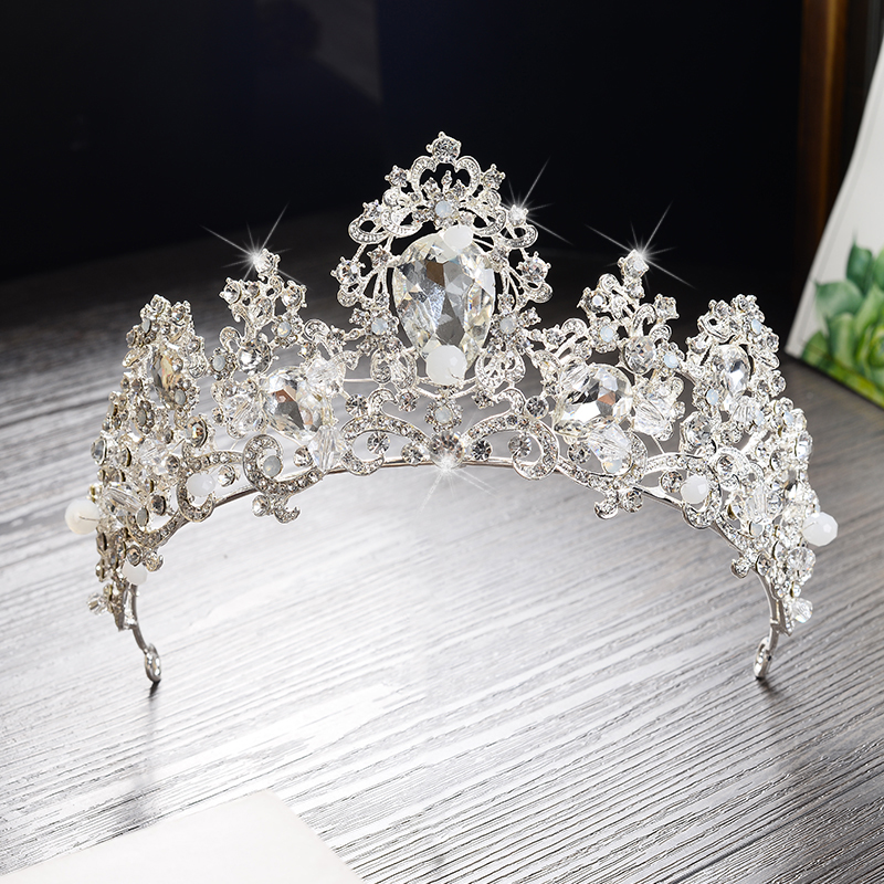 Trendy Silver Plated Rhinestone Wedding Tiara Bride Princess Crystal Crown Girls Party Photography Hairwear Accessories HG219