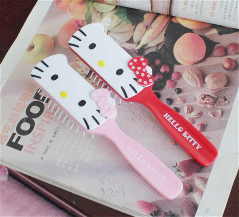 938d2b56d Hello Kitty Kid Hair Brush Comb Anti Static Air Cell Red Pink Portable  Hairbrush Cartoon Massage