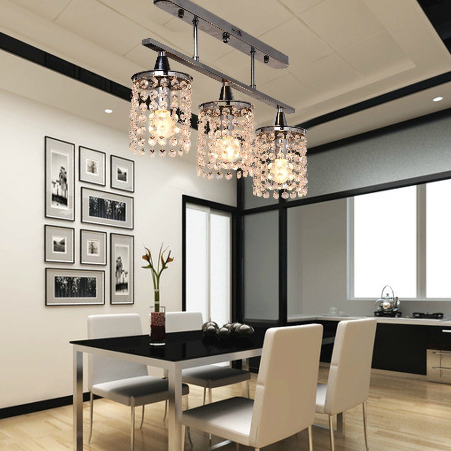 Dining room flush led lighting for modern dining room lights with - 3 Lights Hanging Led K9 Crystal Linear Chandelier With Stainless Steel Fixture Modern Ceiling Lamp Luminarias