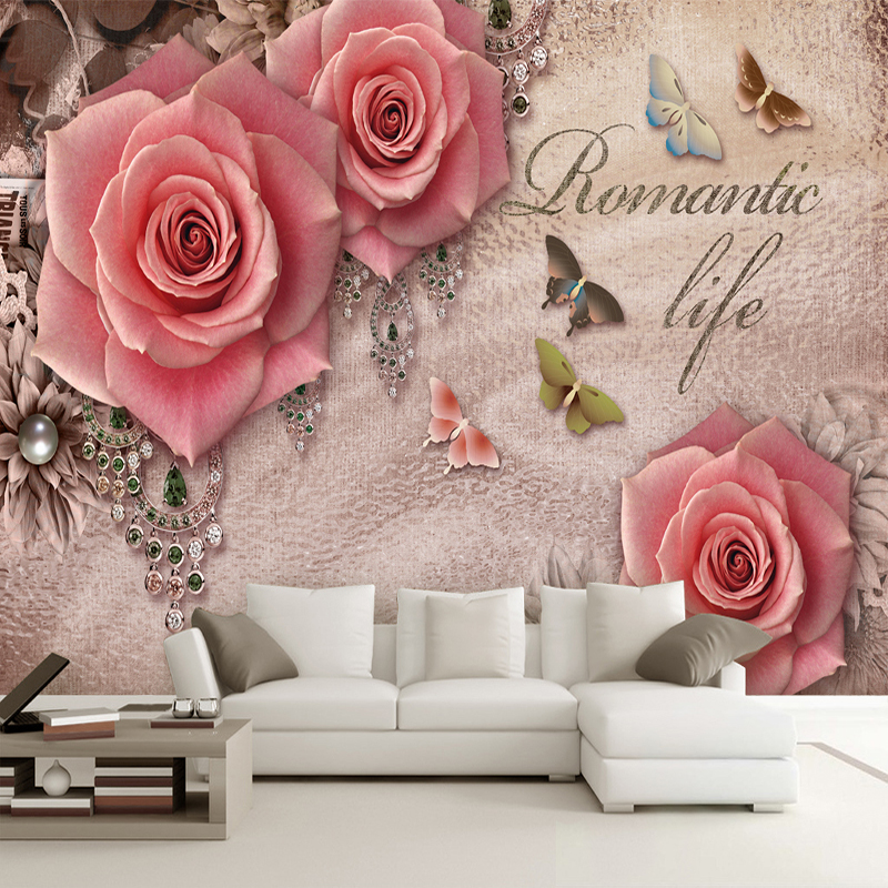 Retro 3D Stereoscopic Butterfly Rose Diamond European Style Living Room Sofa TV Backdrop Wall Home Decor Wallpaper Custom Mural custom mural wallpaper european style 3d stereoscopic new york city bedroom living room tv backdrop photo wallpaper home decor