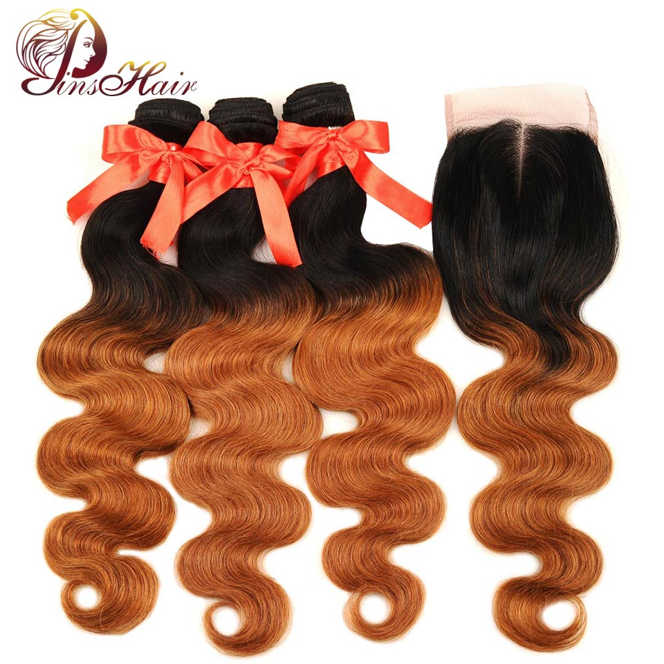 Pinshair Ombre Brazilian Hair Body Wave 3 Bundles With Closure 1B 30 Blonde Thick Human Hair Weave Bundle With Closure Non Remy