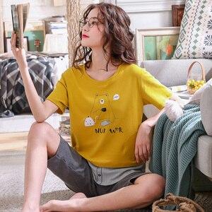 Image 4 - Pijamas de algodón con dibujos animados para mujer, ropa de 100% de manga corta con cuello redondo, M XXL de talla grande