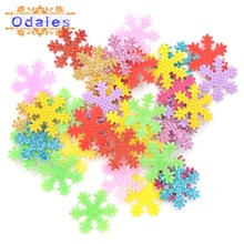200Pcs Snowflake Patches Glitter Snowflake Appliqued Patches for Christmas Decoration DIY Sewing Party Card Stickers Accessories snowflake