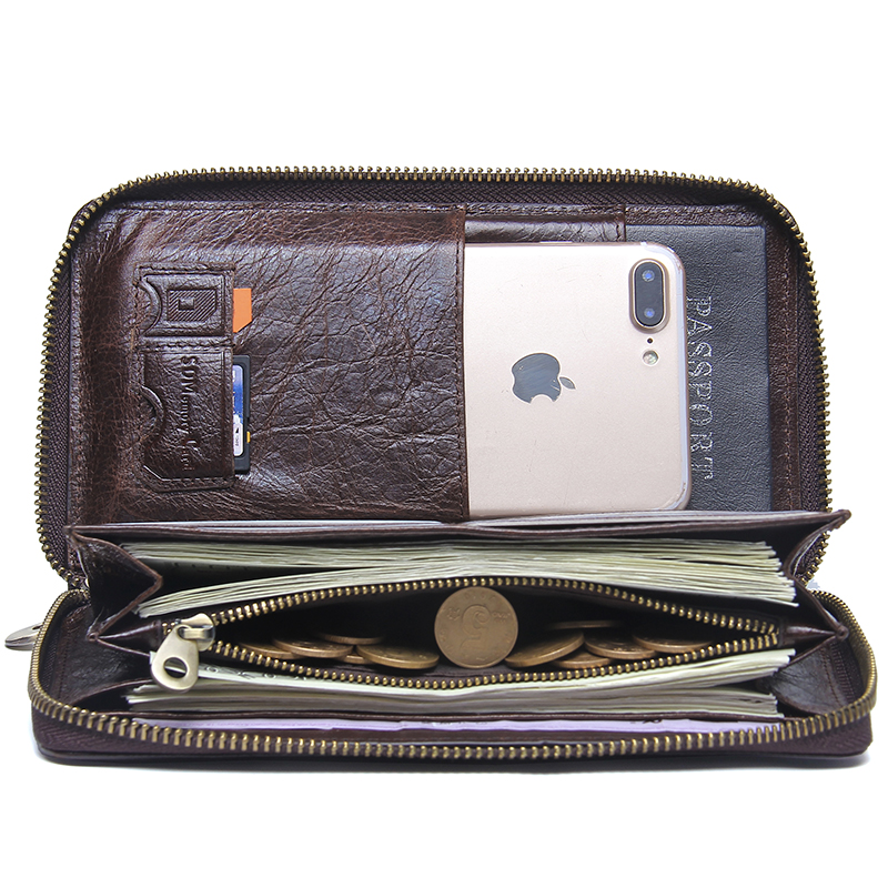 Genuine Leather Men Clutch Wallet  Brand Male Card Holder Long  Zipper Around Travel Purse With Passport Holder 6.5 2