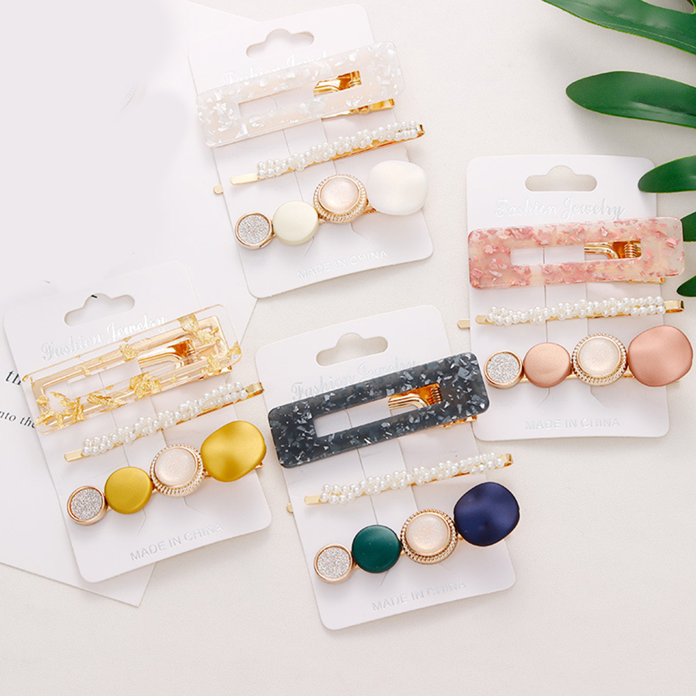 3PCS Fashion Korean Style Hairpins Women Pearl Stone Geometric Hair Accessories Girl Sweet Acetate Colorful Round Shape Barrette