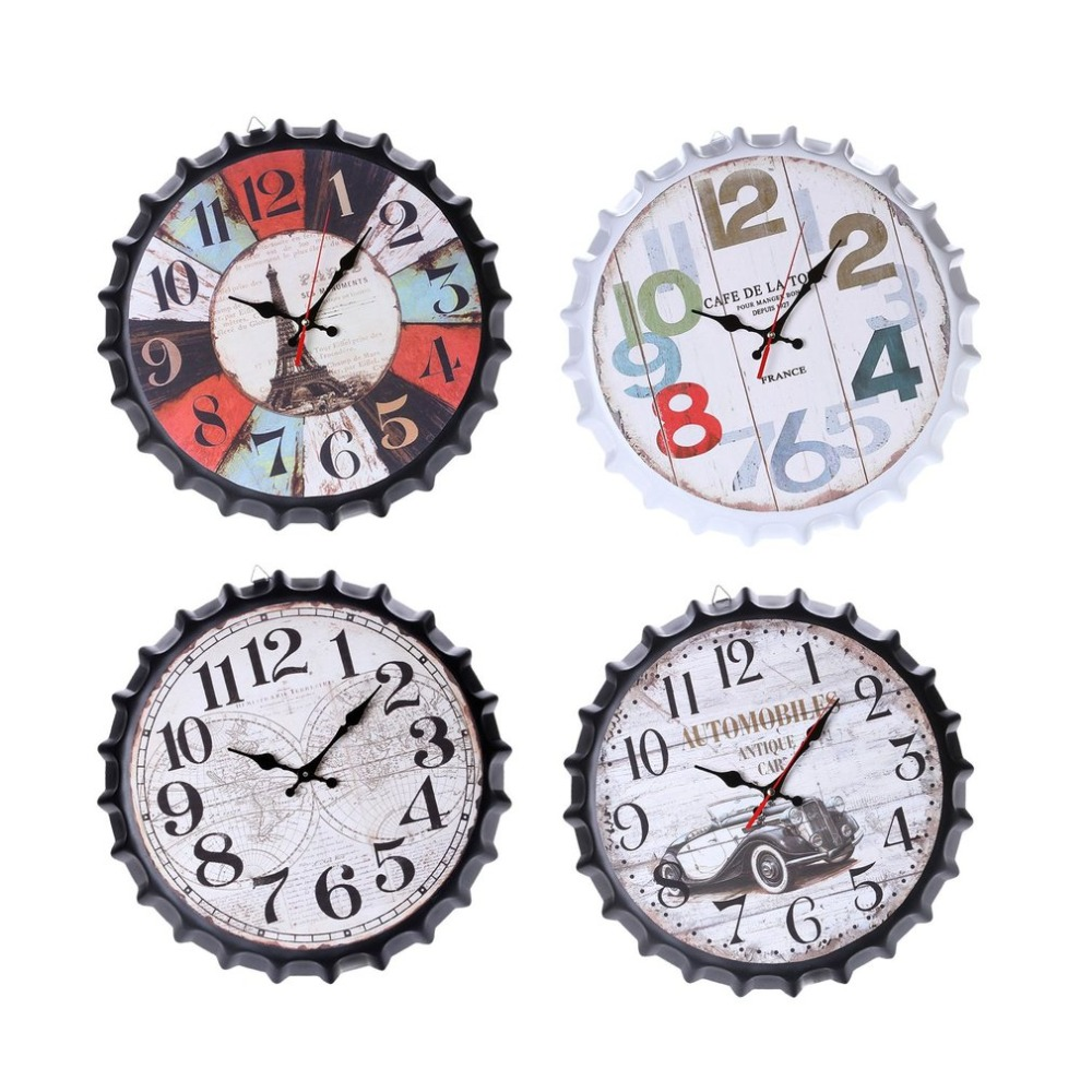 Classic 34cm Beer Soda Bottle Cap Wall Clock Vintage European Style Metal Wall Clock Restaurant Bar Home Coffee Shop Decor