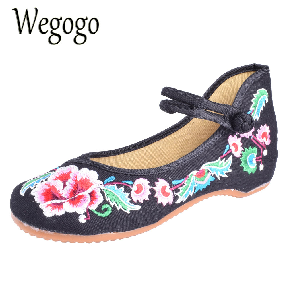 Wegogo Women Cloth Shoes Embroideried Shoes Ballet Flats Mary Janes Casual Walking Shoes Designer Flats Plus Size Shoes Women