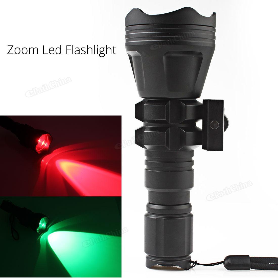 Torches B158 Convex Lens Zoom Flashlight LED Torch Hunting Light Aluminum Self Defense Tactical Flashlight Red Green