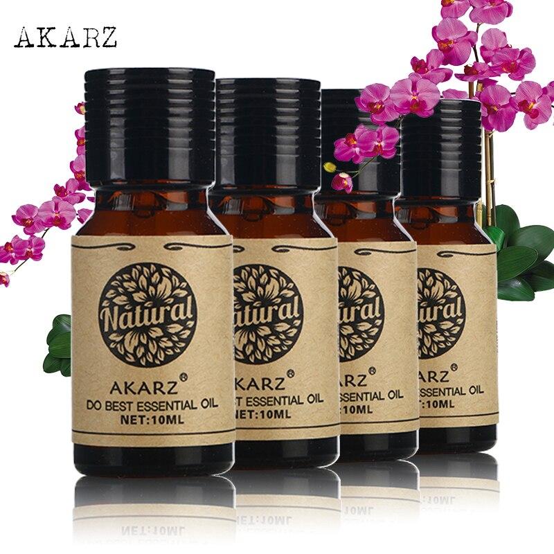 AKARZ Famous brand Jasmine Peppermint Lavender Eucalyptus Oils Pack For Aromatherapy Massage Spa Bath 10ml*4