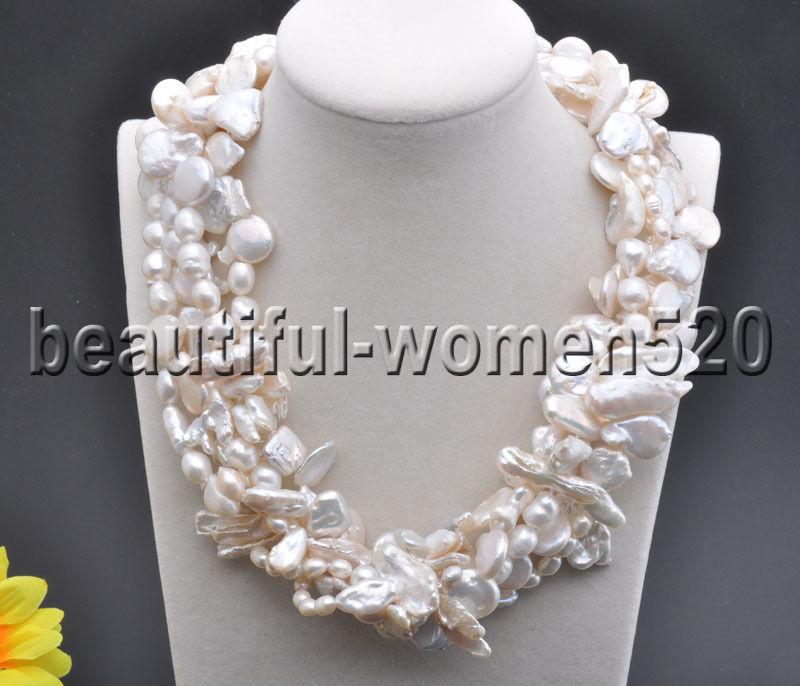 Z7749 5Strands white baroque & coin & biwa & Ricefreshwater pearl necklace 19inchZ7749 5Strands white baroque & coin & biwa & Ricefreshwater pearl necklace 19inch