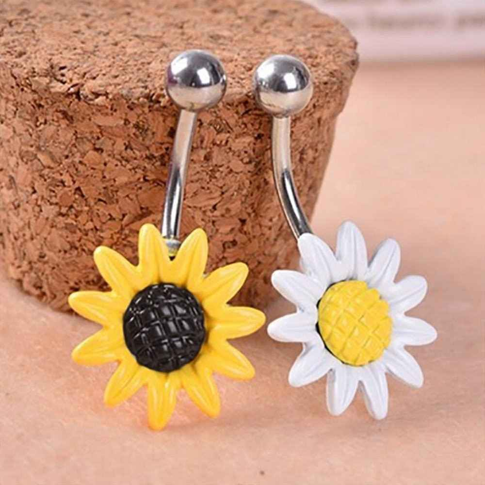 אופנה הניצוץ חמניות פרח בר ברבל טבעת טבור פירסינג