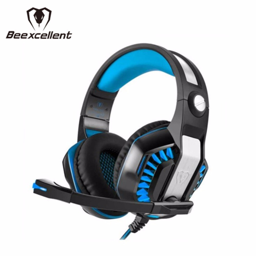 100% Brand New Beexcellent GM-2 Surround Sound Gaming Headphone Portable Headset Headband Bass USB For PC+ MIC+LED Free Shipping factory price binmer sades 7 1 surround sound bass headband gaming headset cobra design jy29 drop shipping