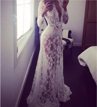 2016 Summer European Style Womens Sexy Lace Embroidery Maxi Solid White Dress Long Sleeve Deep V Neck Vestidos Plus Size S-2XL