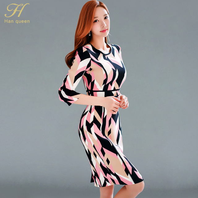 5f4a1f8b9eb0 H han queen Korean Pencil Dresses Spring Womens Elegant Print Slim Work Wear  Office Business Casual