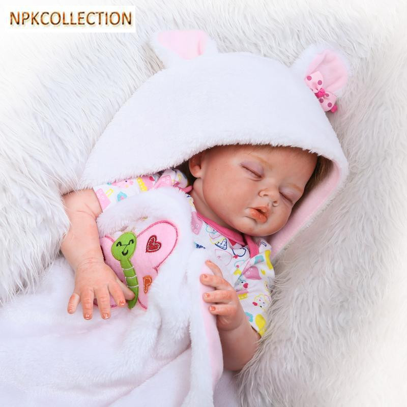NPKCOLLECTION 20 Inch Realistic Silicone Doll Reborn Baby Alive Born Dolls for Girls Lifelike Baby Born Doll Kids Xmas Gifts ucanaan 20 50cm reborn doll hair rooted realistic baby born dolls soft silicone lifelike newborn toys for girls xmas kids gift