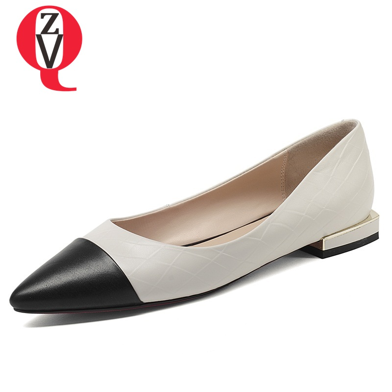ZVQ women shoes summer new fashion genuine leather pointed toe shallow black and wihte mixed colors outside lady flat shoes платок leo ventoni платок