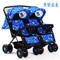 5 rodas carrinho de criança Gêmeo carrinho de bebê/carrinhos/buggy, assento duplo carrinho de criança