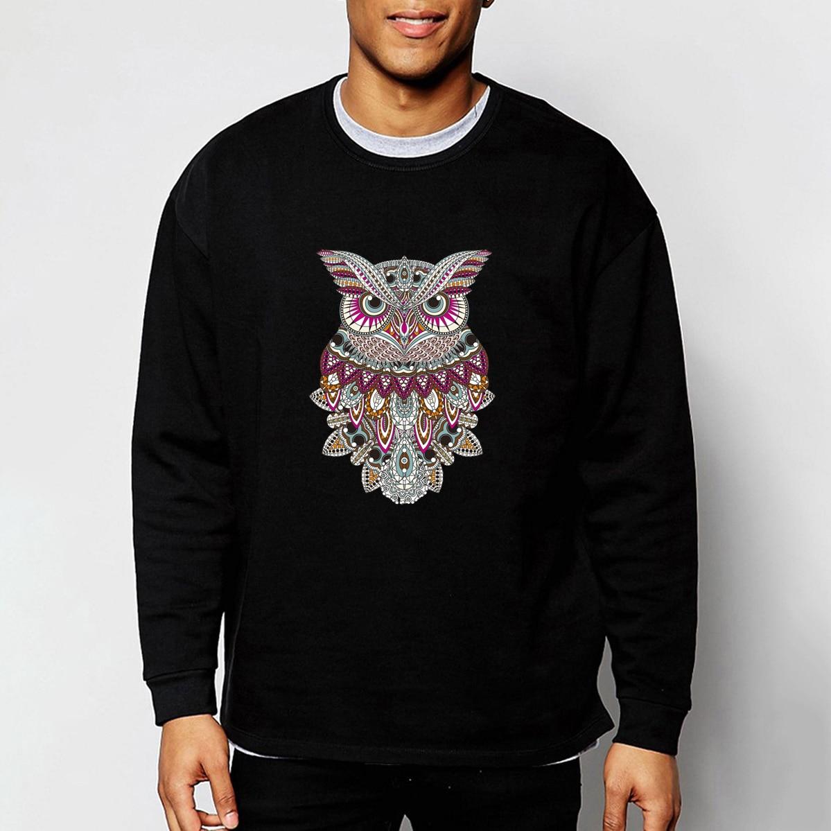Colorful Animal Owl Sweatshirts Hoodies Men 2019 Spring Cartoon Harajuku Men's Sweatshirt Punk Streetwear Black White Blue CM01