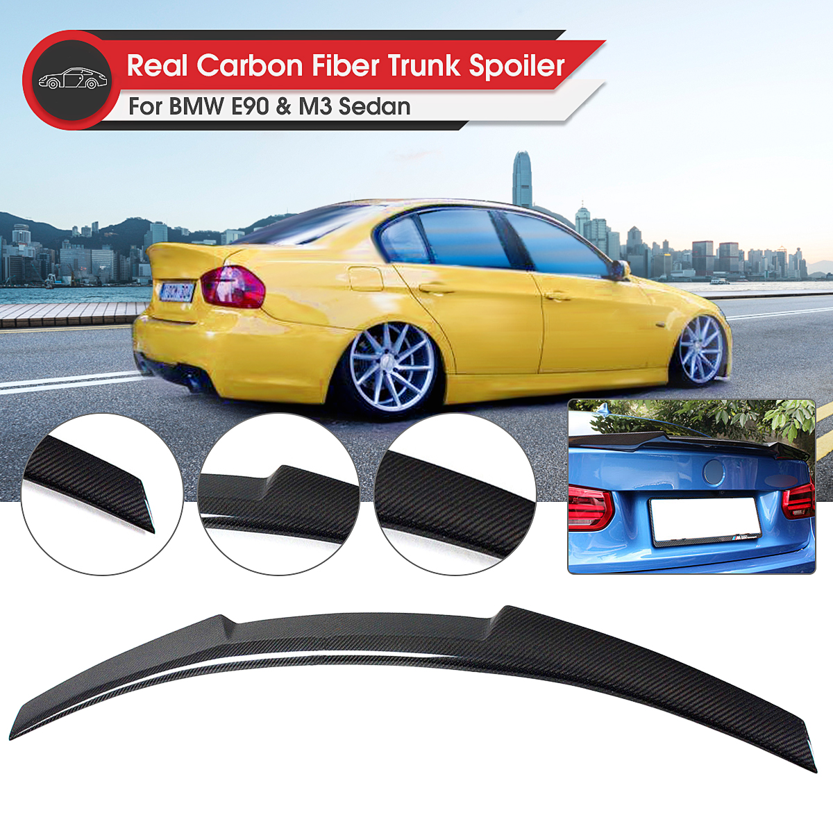 Carbon Rear Trunk Lid Spoiler Wing Lip Spoiler Wing-M4 Style Rear for BMW E90 3 Series 4 Door Sedan 2006-2011 M3 2008-2012 image