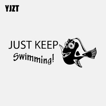 YJZT 18,1 CM * 6,1 CM vinilo pegatina coche buscando Nemo Dory Just Keep natación calcomanía de pescado negro/plata C24-0926