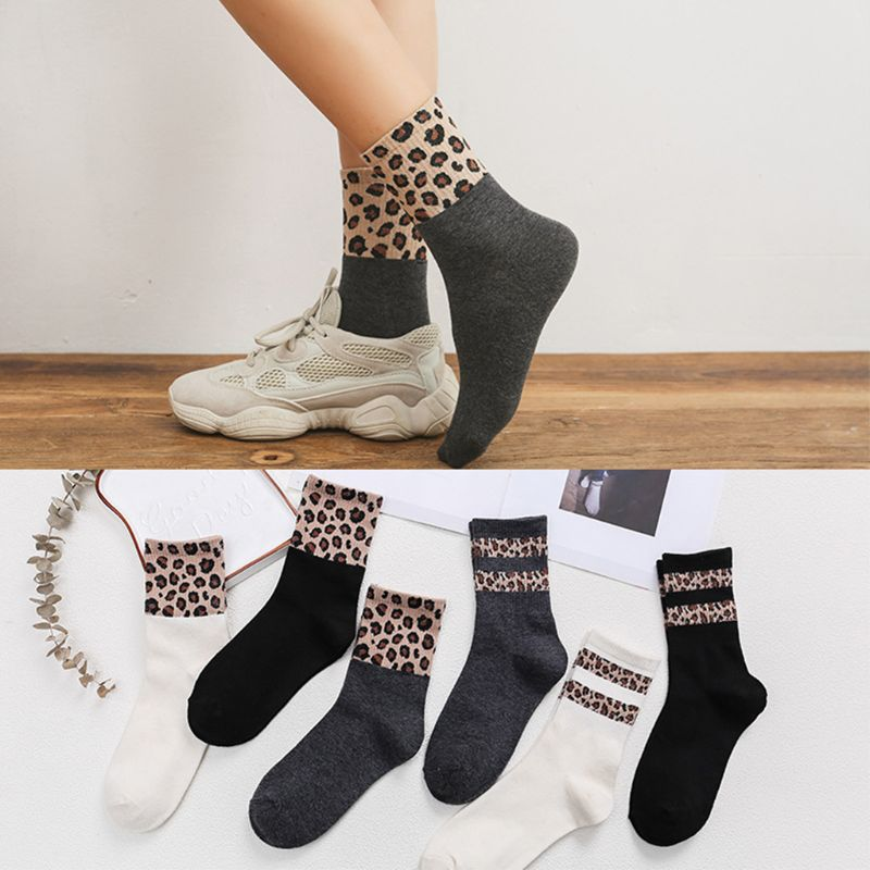 Women Girls Autumn Rib Knitted Trim Long Over Ankle Socks Double Stripes Leopard Pattern Patchwork Cotton Hoisery Casual Party