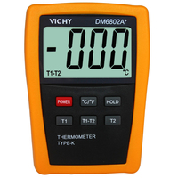 VICI DM6802A+ Digital Thermometer Temperature Meter with two thermocouple probe high resolution Multimeter DM6802A+