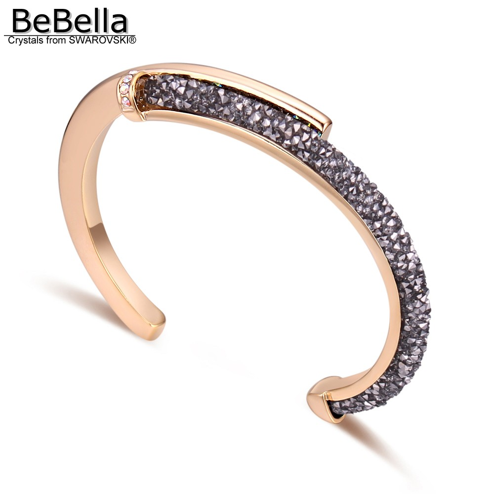 80697d8633 BeBella crystal rocks dust cuff bracelet bangle with Crystals from  Swarovski fashion jewelry for women girls bride gift 2018 new