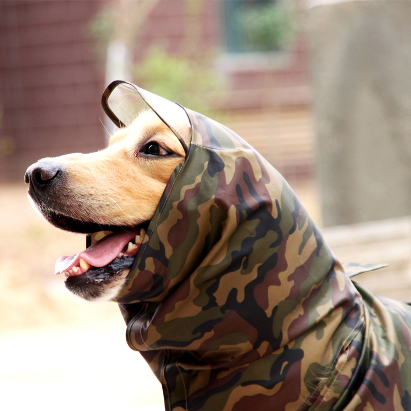 TAILUP Dog Clothes Camouflage Raincoat Light Clothes Waterproof Large Dog Golden Retriever Raincoat with Hood Pet Overalls