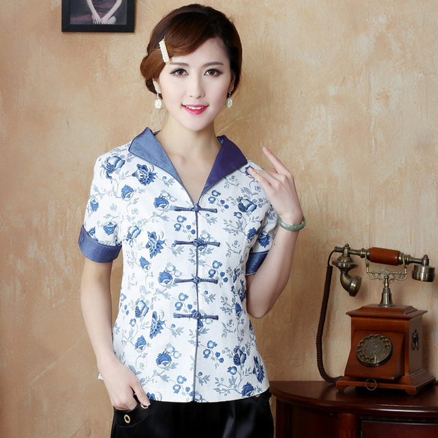 948b60c801 Hot Sale Blue White Traditional Chinese Blouse Women Cotton Linen Shirt Top  V-Neck Short SleevesClothing M L XL XXL XXXL MNY0509
